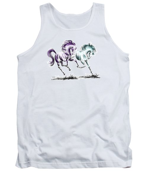 Frolicking - Wild Horses Print Color Tinted Tank Top by Kelli Swan