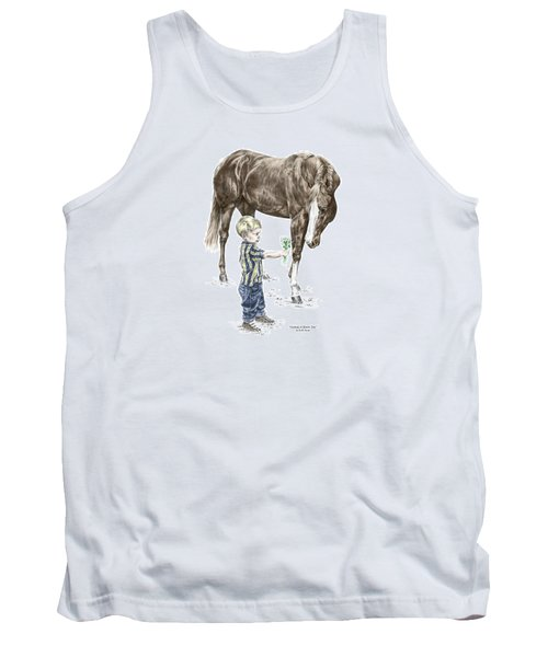Tank Top featuring the drawing Getting To Know You - Boy And Horse Print Color Tinted by Kelli Swan