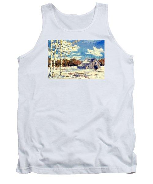 Tank Top featuring the painting Grandma's Barn by Lou Ann Bagnall