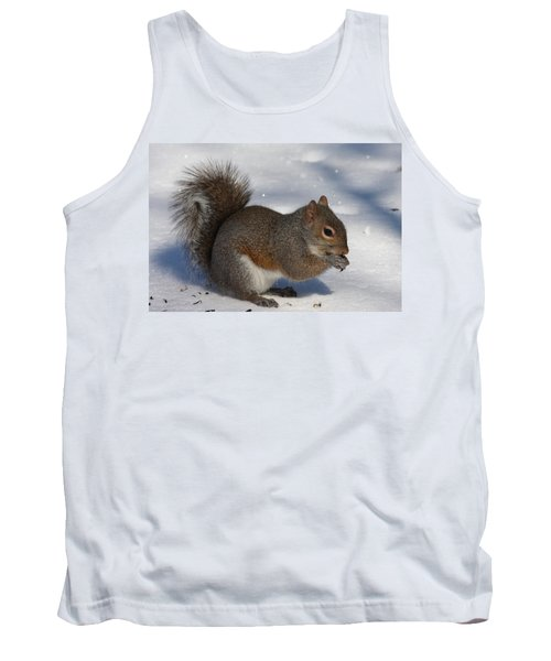 Gray Squirrel On Snow Tank Top