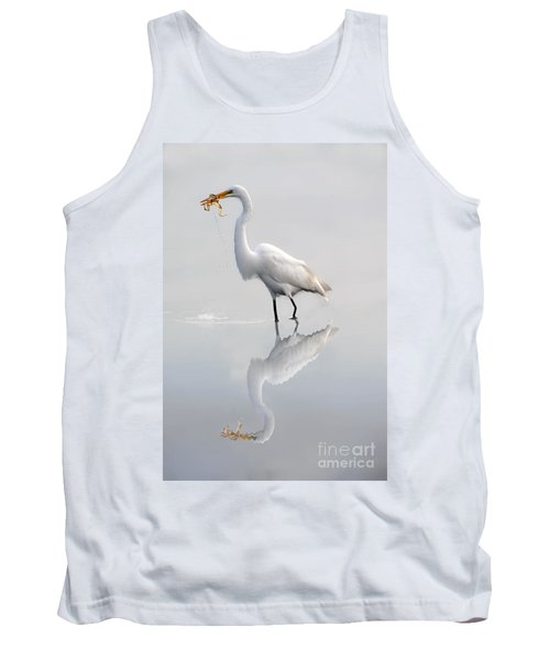 Tank Top featuring the photograph Great Egret With Lunch by Dan Friend