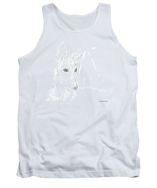Tank Top featuring the drawing Greyhound by George Pedro