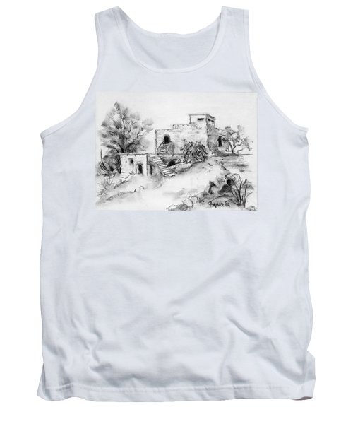 Hirbe Landscape In Afek Black And White Old Building Ruins Trees Bricks And Stairs Tank Top by Rachel Hershkovitz