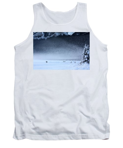 Tank Top featuring the photograph Hockey On Lake Louise by Alyce Taylor