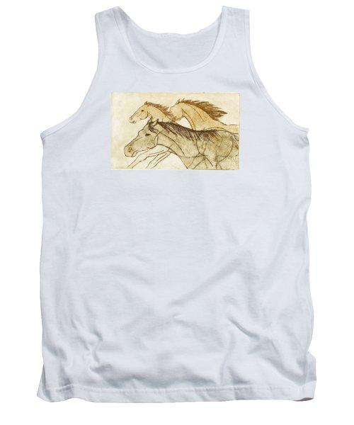 Tank Top featuring the drawing Horse Sketch by Nareeta Martin