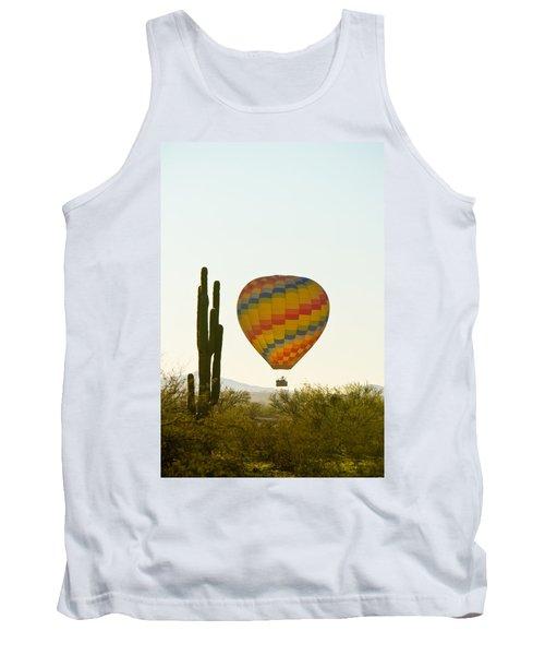 Hot Air Balloon In The Arizona Desert With Giant Saguaro Cactus Tank Top
