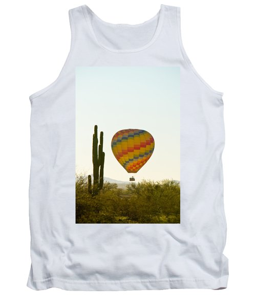 Hot Air Balloon In The Arizona Desert With Giant Saguaro Cactus Tank Top