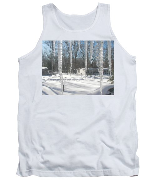 Tank Top featuring the photograph Icicles Through The Window Glass by Pamela Hyde Wilson