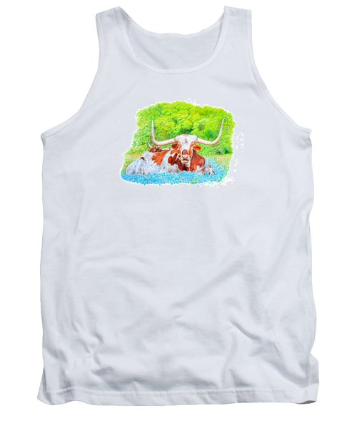 Tank Top featuring the drawing Longhorns In Bluebonnets by Mike Ivey