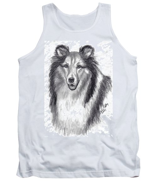 Tank Top featuring the drawing Looks Like Lassie by Julie Brugh Riffey