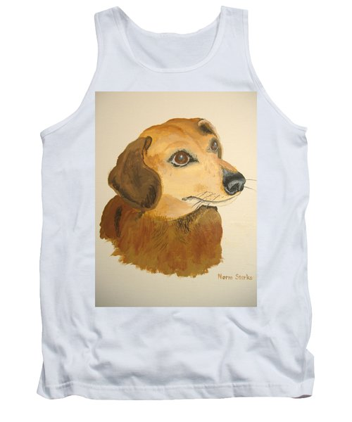 Tank Top featuring the painting Lovable Dachshund by Norm Starks