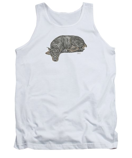 Tank Top featuring the drawing Lying Low - Doberman Pinscher Dog Print Color Tinted by Kelli Swan