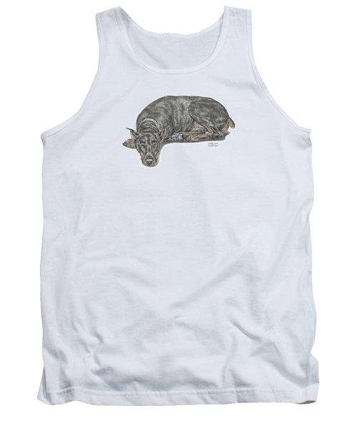 Lying Low - Doberman Pinscher Dog Print Color Tinted Tank Top
