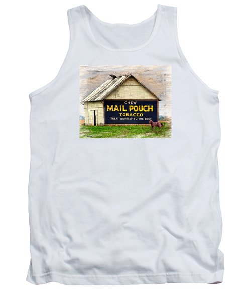 Tank Top featuring the digital art Mail Pouch Barn by Mary Almond