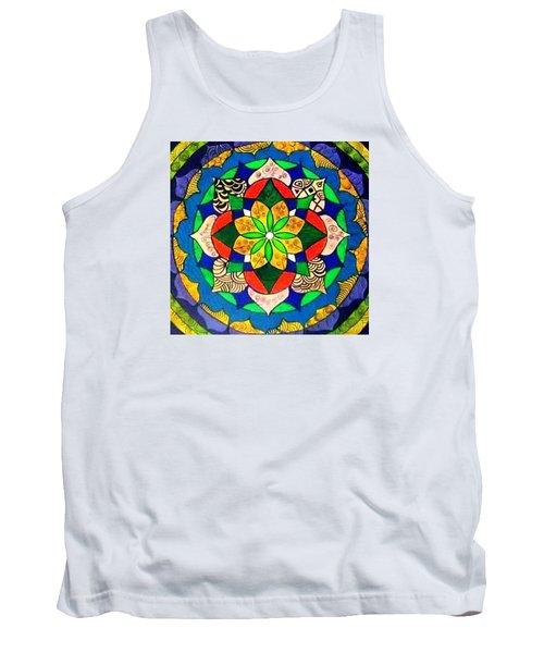 Mandala Circle Of Life Tank Top by Sandra Lira