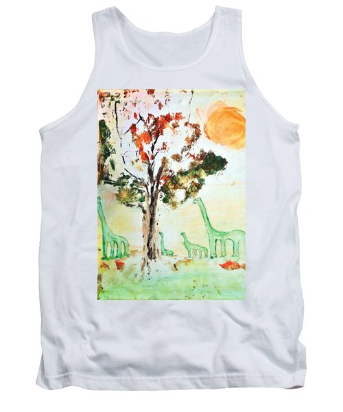 Tank Top featuring the painting Matei's Dinosaurs by Evelina Popilian
