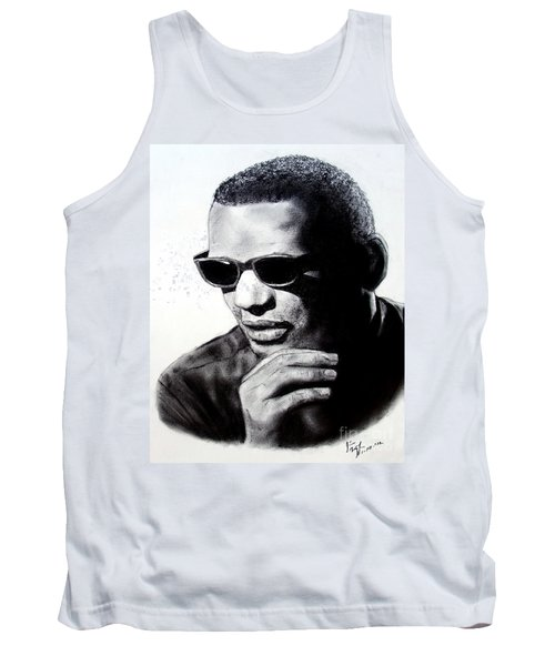 Music Legend Ray Charles Tank Top by Jim Fitzpatrick