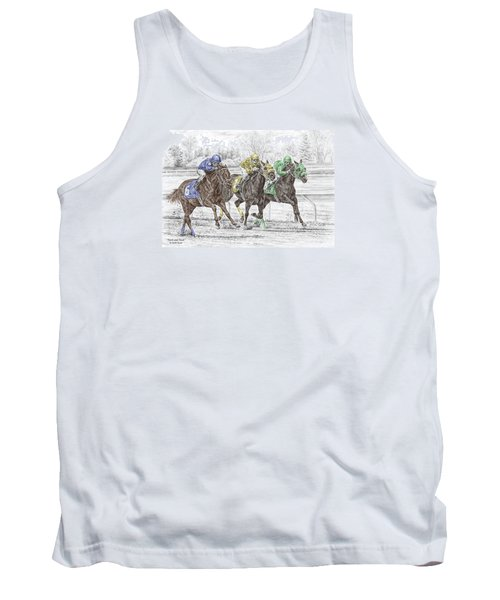 Tank Top featuring the drawing Neck And Neck - Horse Race Print Color Tinted by Kelli Swan