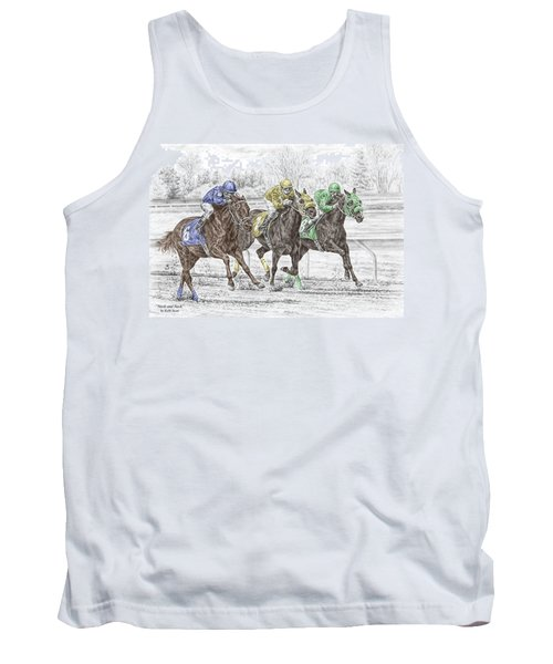 Neck And Neck - Horse Race Print Color Tinted Tank Top