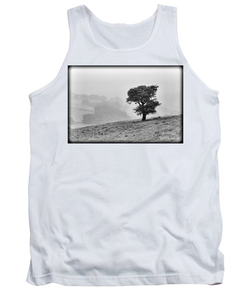 Tank Top featuring the photograph Oak Tree In The Mist. by Clare Bambers
