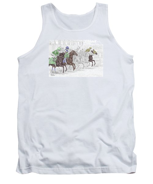 Tank Top featuring the drawing Odds Are - Tb Horse Racing Print Color Tinted by Kelli Swan