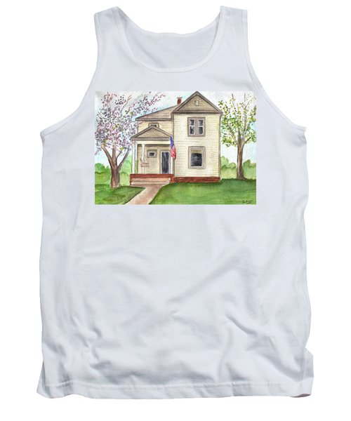Tank Top featuring the painting Ohio Cottage With Flag by Clara Sue Beym