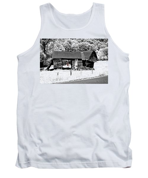 Tank Top featuring the photograph Old Barns With Red Gate by Susan Leggett