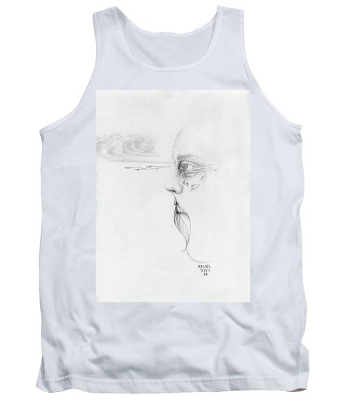 Old Nature Face Black And White Art Looking Into Cloud  L Leaf Beard Fantasy Flower Tear Surreal Tank Top by Rachel Hershkovitz