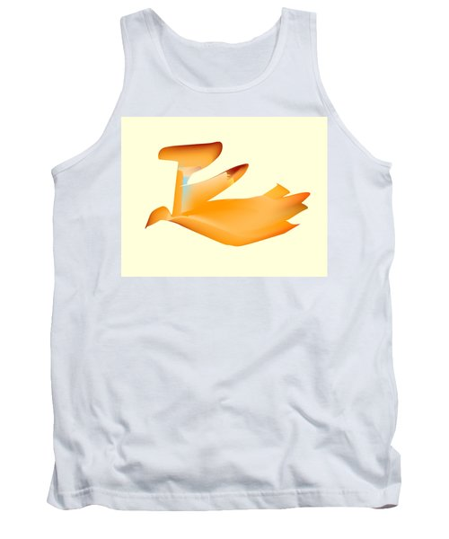 Orange Jetpack Penguin Tank Top by Kevin McLaughlin