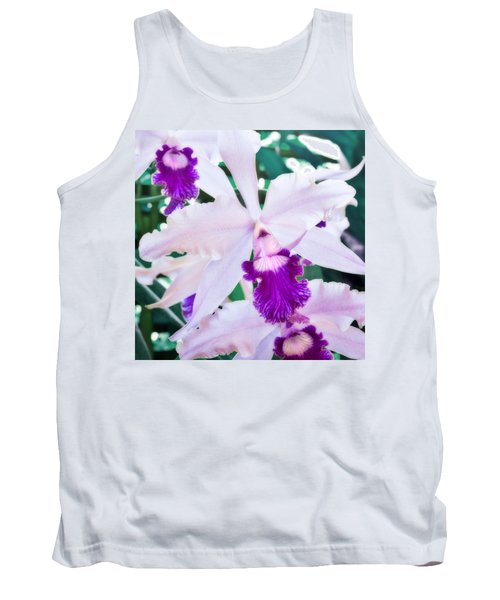 Tank Top featuring the photograph Orchids White And Purple by Steven Sparks