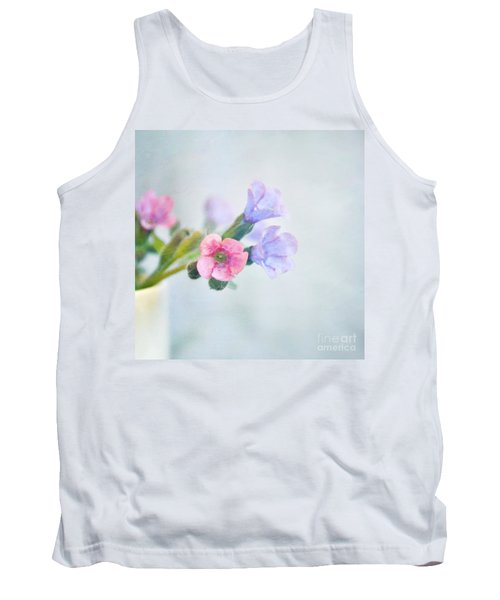 Pale Pink And Purple Pulmonaria Flowers Tank Top by Lyn Randle