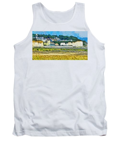 Tank Top featuring the digital art Pegwell Bay by Steve Taylor