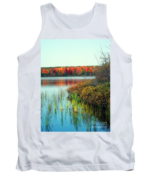 Pond In The Woods In Autumn Tank Top