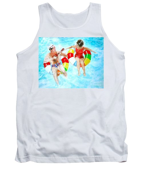 Tank Top featuring the drawing Pool by Beth Saffer