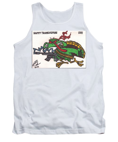 Tank Top featuring the drawing Rambo Turkey by Jeremiah Colley