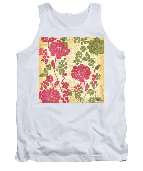 Raspberry Sorbet Floral 1 Tank Top by Debbie DeWitt