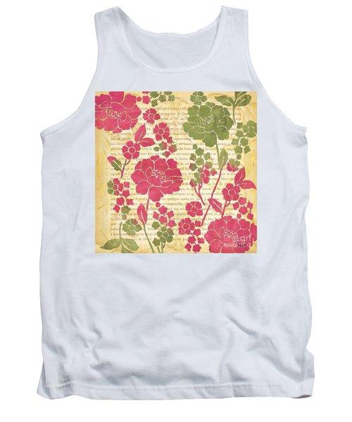 Raspberry Sorbet Floral 2 Tank Top by Debbie DeWitt