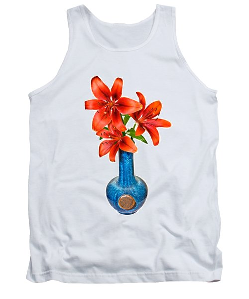 Red Lilies In Blue Vase Tank Top