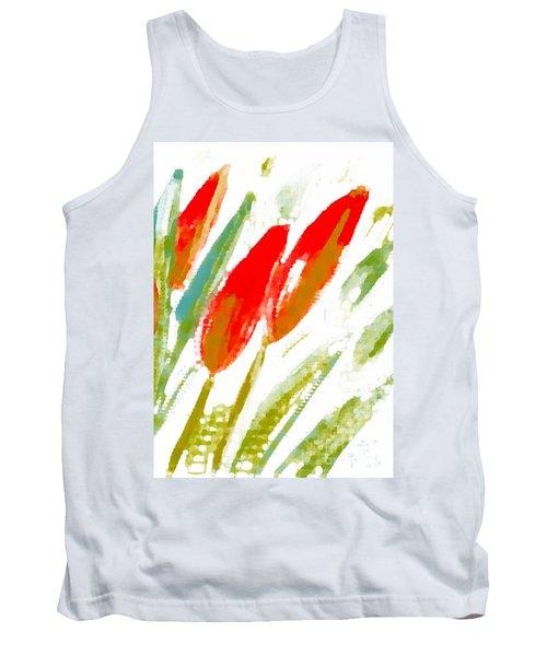 Red Tulips Tank Top by Barbara Moignard