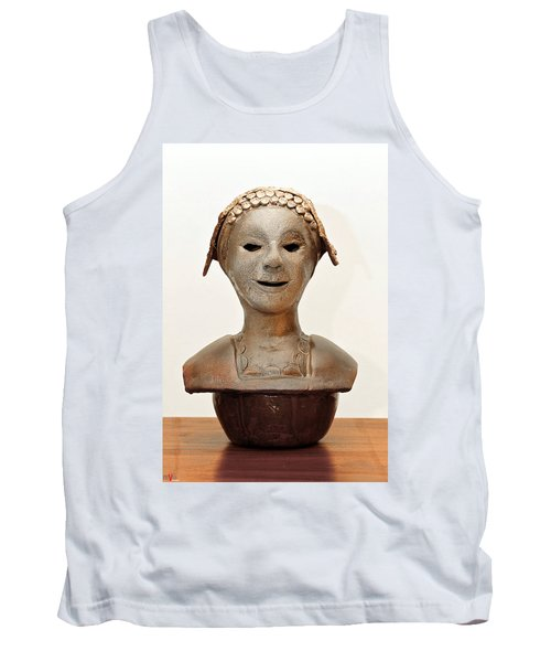 Roman Mask Torso Lady With Head Cover Face Eyes Large Nose Mouth Shoulders Tank Top by Rachel Hershkovitz