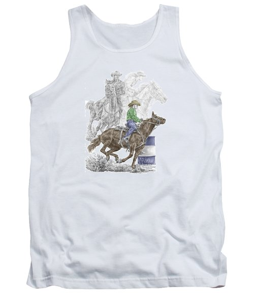 Tank Top featuring the drawing Running The Cloverleaf - Barrel Racing Print Color Tinted by Kelli Swan