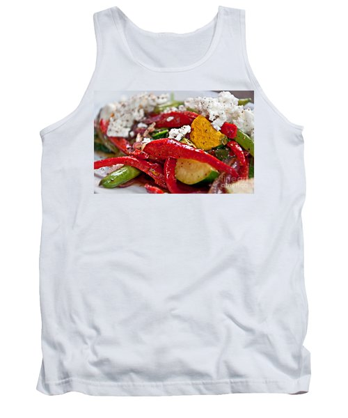 Tank Top featuring the photograph Sauteed Vegetables With Feta Cheese Art Prints by Valerie Garner