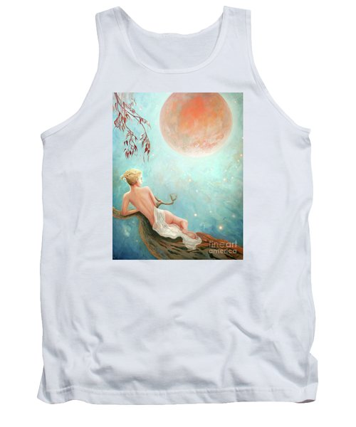 Tank Top featuring the painting Strawberry Moon Nymph by Michael Rock