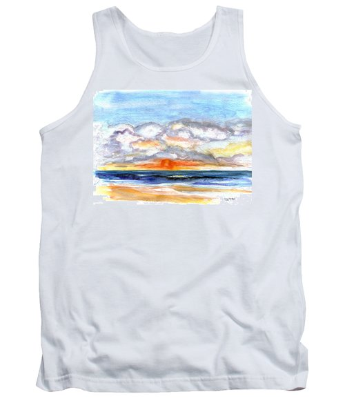 Tank Top featuring the painting Sunset Clouds by Clara Sue Beym