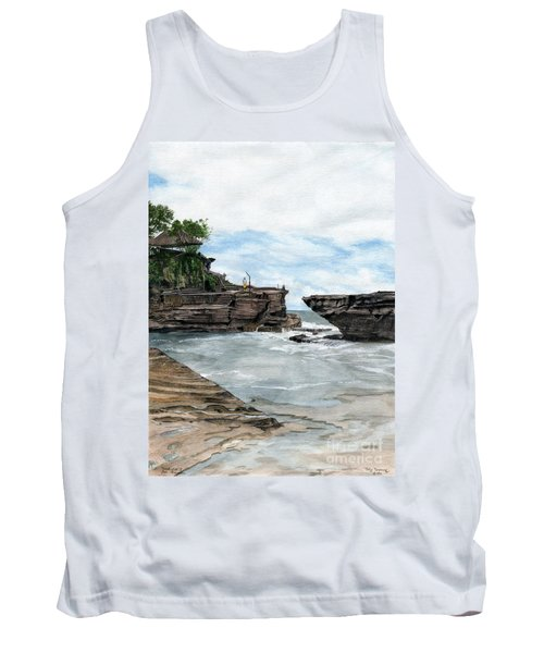 Tank Top featuring the painting Tanah Lot Temple II Bali Indonesia by Melly Terpening
