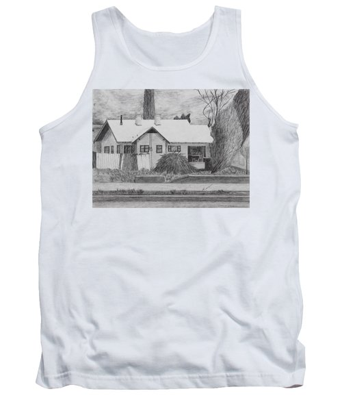 Tank Top featuring the drawing The House Across by Kume Bryant