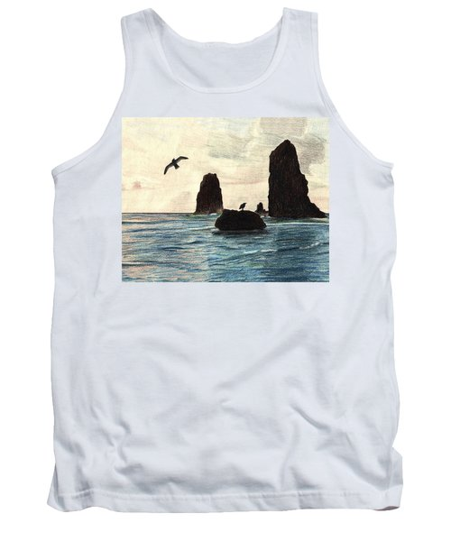 Tank Top featuring the drawing The Needles by Wendy McKennon