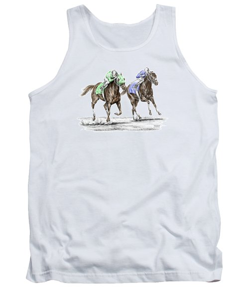 Tank Top featuring the drawing The Stretch - Tb Horse Racing Print Color Tinted by Kelli Swan