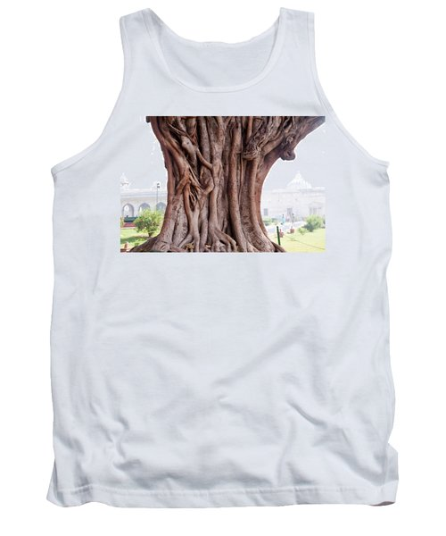 Tank Top featuring the photograph The Twisted And Gnarled Stump And Stem Of A Large Tree Inside The Qutub Minar Compound by Ashish Agarwal