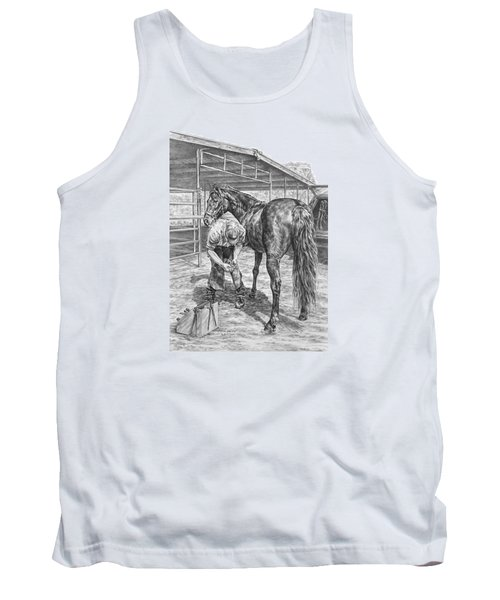 Trim And Fit - Farrier With Horse Art Print Tank Top by Kelli Swan